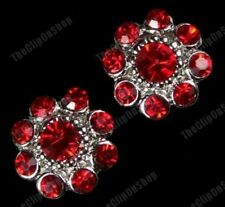 CLIP ON CRYSTAL ROUND FLOWER EARRINGS big 15mm studs RHINESTONE red/purple/white