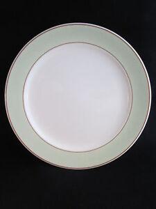 "Homer Laughlin HLC589 12"" Chop Plate Round Platter Cream Green Band Tan Rings"