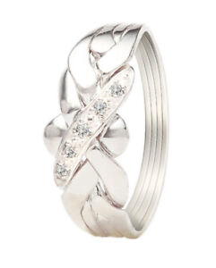 2-5 days delivery women Turkish Puzzle ring 925 silver 4 band white zircon stone