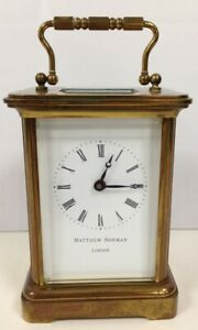 Vintage Matthew Norman Brass Swiss Made Carriage Clock NO KEY Collectable #294