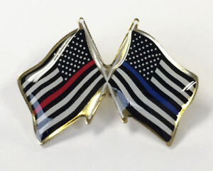 CROSSED FLAG LAPEL PIN, THIN RED LINE AND THIN BLUE LINE FLAGS - Made in USA