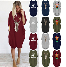 Women Plus Size Loose Tops Xmas Dress Ladies O Neck Long Pocket Christmas Dress