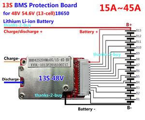 48V 52V 13S 15A-45A 13x 3.6V/3.7V/4.2V Lithium Li-ion Li-Po Protection PCB BMS