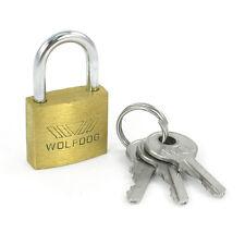 WOLFDOG Mini Size Security 20mm Width Door Lock Brass Padlock with 3 Keys Q7Q1