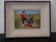 Beau tableau sur cuir souvenir Pays Basque Bearn Bigorre Bascotille Vintage
