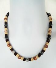 "AFRICAN ETHNIC INSPIRED MENS 20"" SURFER CREAM BROWN GREY WOOD BEAD NECKLACE"