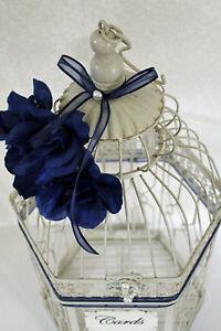 Wedding Bird Cage Card Holder Vintage Ivory, Navy Blue & Pearl, Wedding Card Box