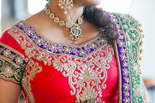 Traditional Indian Red Gold Bridal Wedding Lengha Lehenga Ceremony Outfit Dress