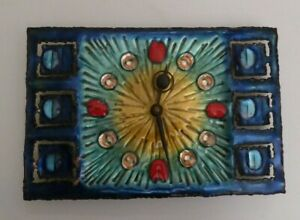 BRUTALIST MID CENTURY STUDIO CELLINI RAME ARTE ITALY ENAMELED COPPER WALL CLOCK