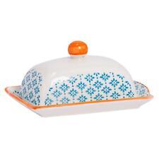 Patterned Kitchen Butter Dish With Lid Porcelain Crockery - Blue / Orange