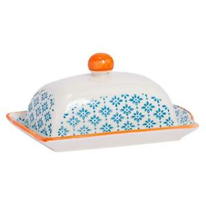 Patterned Kitchen Butter Dish With Lid Porcelain Crockery - Blue / Orange