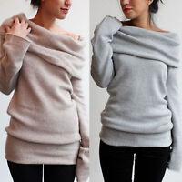 Womens Cowl Neck Long Sleeve Loose Sweater Sweatshirt Jumper Pullover Blouse Top