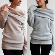 Fashion Womens Off Shoulder Long Sleeve Jumper Sweater Slim Knitted Tops Outwear
