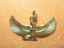 NEW 35MM GOLD TONE EGYPT EGYPTIAN ISIS WINGED GODDESS PENDANT CHARM  NECKLACE