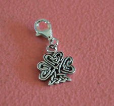 925 Sterling Silver Shamrock Clip On Charm - Celtic Shamrock Bracelet Charm