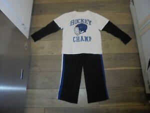 Gymboree Ice Hero Hockey shirt & matching sweat pants size 6