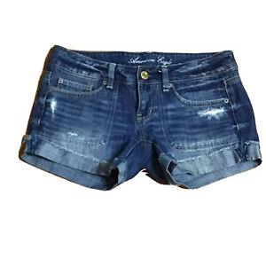 American Eagle Denim Jean Shorts Size 4 Distressed Low Rise 5 Pocket Cotton