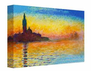 Monet Venice at Dusk Canvas Print Wall Art. Picture Framed Ready To Hang
