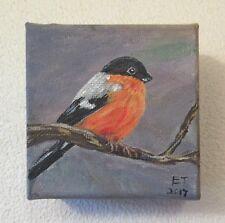 Original Miniature Acrylic Painting of a Bullfinch