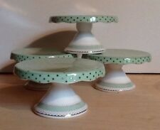 Grace Teaware Green Shabby Chic Polka Dot Cupcake Dessert Mini Pedestal Stands