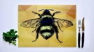 Yellow Bee Bees 40cm x 30cm Glass Chopping Board / Worktop Saver / Cutting Board