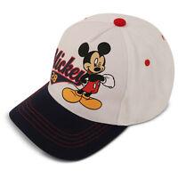 Disney Kids Hat for Toddler Ages 2-7 Mickey Mouse Baseball Cap, White/Blue, Litt