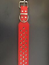 Allpet Staffy Studded Leather Dog Collar Red