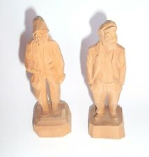 Vintage Nautical Wood Folk Art Figures Set of 2 Sailor Fisherman A.Thibault