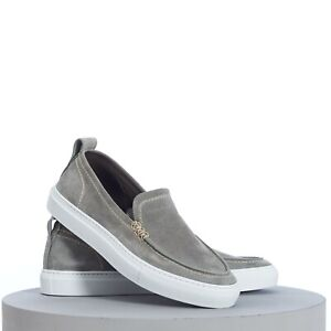 BRIONI 650$ Classic Slip-On Sneakers In Buttersoft Grey Suede