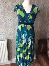 Ladies 10 L Dress Long Tall Per Una Smart Casual Blue Green Summer Sun Crinkle