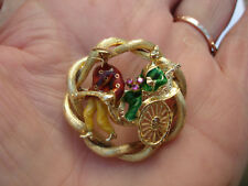 VINTAGE 18K SOLID YELLOW GOLD MULTI COLOR ENAMEL RUBY RIKSHA GEISHA PIN BROOCH