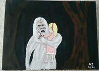Sasquatch Missing 411 Painting Bigfoot Jon Benet Katie Flynn 9x12 original art