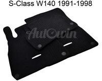 Floor Mats For Mercedes Benz S Class W140 Black Carpets With MB Emblem & Clips