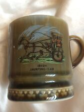 OLD VINTAGE ART IRISH POTTERY MUG STYLISH ITEM,IRISH JAUNTING CAR,7.5CM,STAMPED