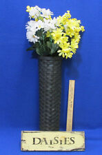 Wooden Daisies Plaque Sign & Black Woven Wall Basket w/ Artificial Flowers Lot 5