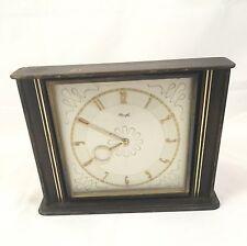 Kienzle Clock Vintage Wind Up Gold Hands and Face Wood Case