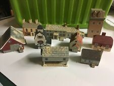 VINTAGE WOOD HANDCRAFTED VILLAGE SCHOOLHOUSE CHURCH SHOP 9 PIECES