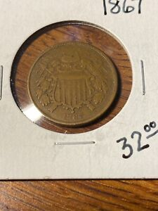 1867 TWO CENTS..VG - F..