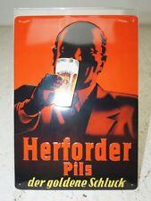 Bier Schild Herforder Pils der goldene Schluck Werbung Blechschild NEU