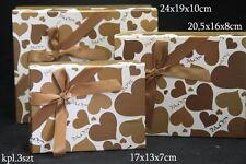 Gold Heart Design Decorative Storage Trinket Gift Christmas Box Set of 3