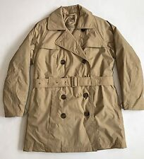 LL Bean Womens Belted Trench Rain Jacket Removable Liner Coat Khaki Womens Small