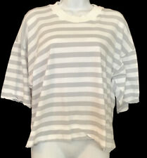 Bassike T Shirt Gray And White Striped Cotton Crew Short Wide Sleeve Size Xs