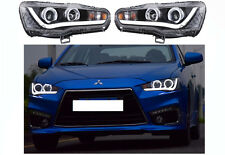 For Mitsubishi Lancer EVO 2008-2017 LED Headlights DRL Front Lamp Halo Projector