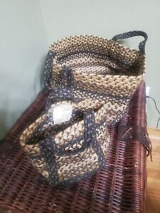 Homespice Soft Woven Round Baskets. Set of two. One small, One Large