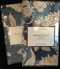 """Pottery Barn Margaret Euro 26 X 26"""" Floral Dark Royal Blue Red Cream New"""