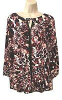Liz Claiborne Women's Blouse Plus 1X Tie Front Keyhole 3/4 Sleeve Pullover Top