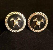 Diamond-Cut Goldtone & Black GOLF Cufflinks, 23mm Round, SWANK, FLAGS & BALLS
