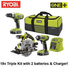 Ryobi One Plus + 18V Cordless Li-ion Combi Drill, Impact Driver & Circular Saw