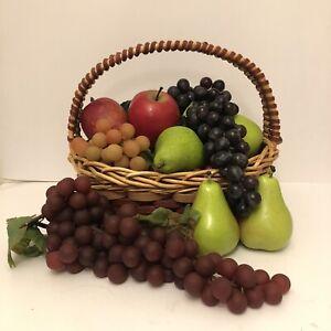 Fruit Basket Lot Realistic Display Prop Faux Home Décor 15pieces Rubber Plastic