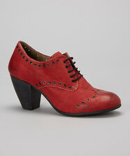 FLY LONDON SHOES ANNA OXFORD BOOTIES RED LEATHER LACE UP PUMP 39 $220 NEW STUDS